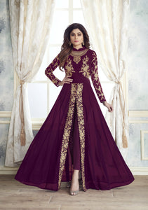 shop n discount - Shamita shetty purple Georgette Straight Pant anarkali Suit