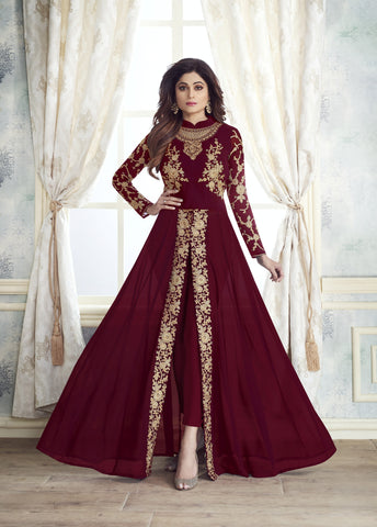 shop n discount - Shamita shetty maroon Georgette Straight Pant anarkali Suit