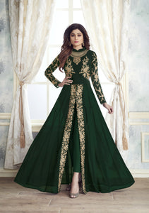 shop n discount - Shamita shetty green Georgette Straight Pant anarkali Suit