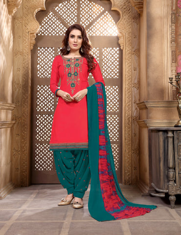 shop N Discount - Tomato Glaze Cotton Satin Embroidered Patiyala Suit