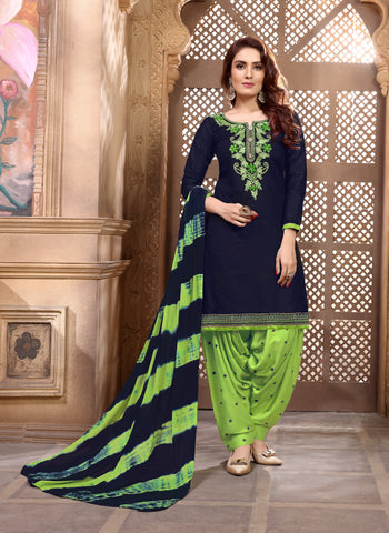 shop n discount - Navy Blue Glaze Cotton Satin Embroidered Patiala Suit