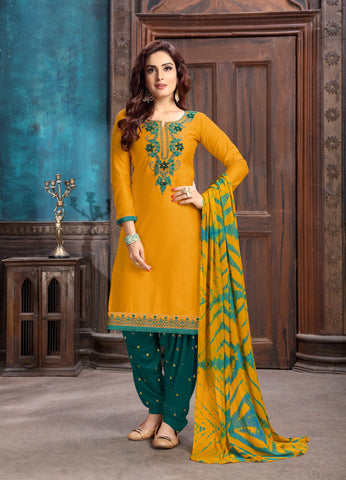 shop n discount - Yellow Glaze Cotton Satin Embroidered Patiyala Suit