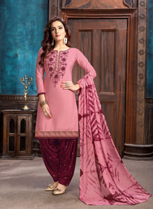 shop n discount - Pink Glaze Cotton Satin Embroidered Patiyala Suit