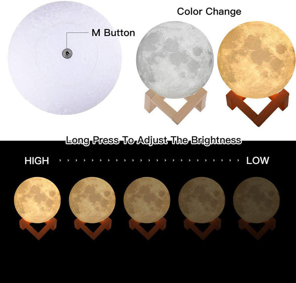 Moon Light Night Light for Kids Gift for Women USB Charging and Touch Control Brightness 3D Printed Warm and Cool White Lunar Lamp