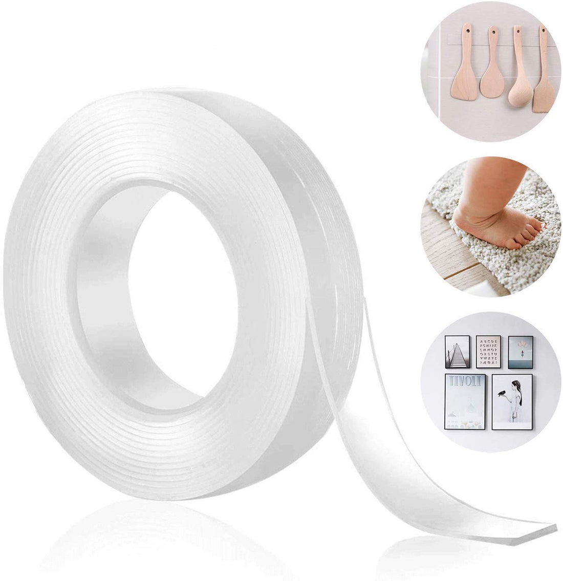 Double Sided Gel Tape 2M Movable Washable Reusable Sticky Anti-Slip Fixed Adhesive No-Trace Removable Glue Tape for Paste Photos Posters Key Fix Carpet Mat