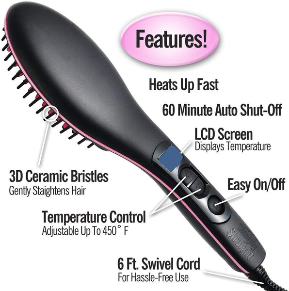 shop n discount-2 in 1 Straight Ceramic Women's Hair Straightener Brush
