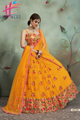 Semi-Stitched Lehenga & Unstitched Blouse with Dupatta