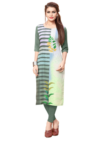 Round Neck Digital Printed Women Kurti
