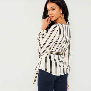 Elegant Striped Print Long Sleeve Blouse
