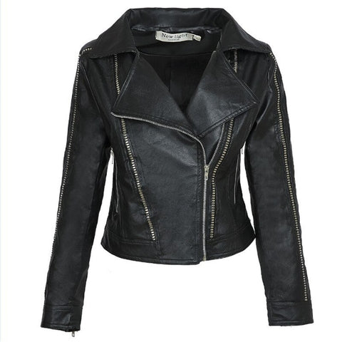 Women's Black Faux Leather Jackets