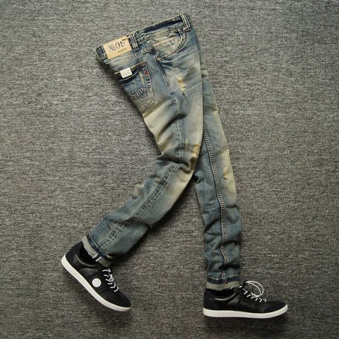 Image of Italian Retro Design Slim Fit Denim Ripped Jeans