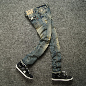 Italian Retro Design Slim Fit Denim Ripped Jeans