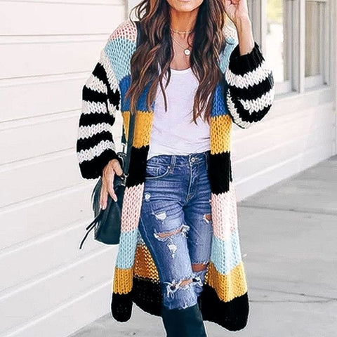Image of Hit Color Patchwork Women Sweater Coat