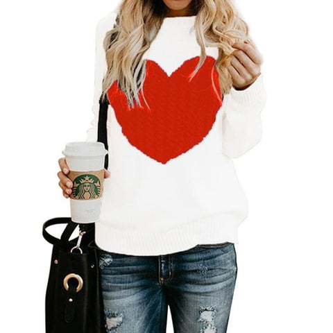 Women Long Sleeve Slim Heart Knitted Sweaters