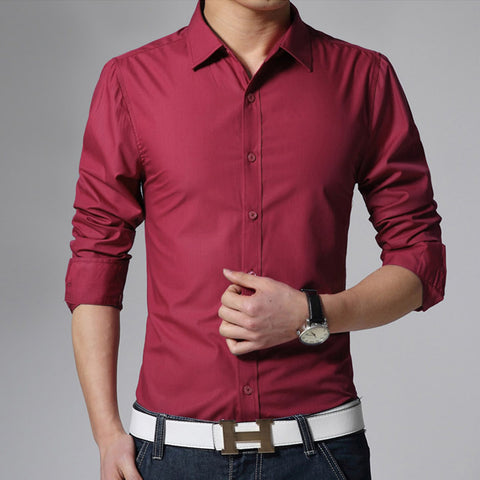 Image of Men's Long Sleeve Fit Slim Shirt