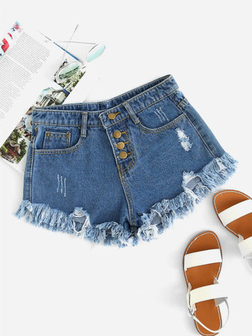 Image of Distressed  Denim Shorts