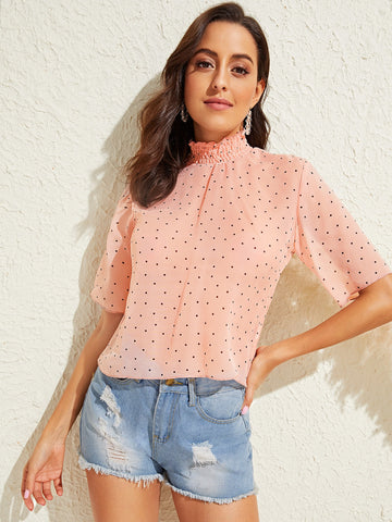 Image of Shirred Neckline Polka-dot Print Top