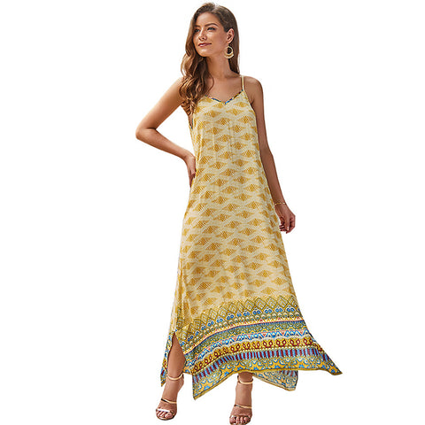 Image of Women's A Line Dress - Geometric Green Red Yellow M L XL