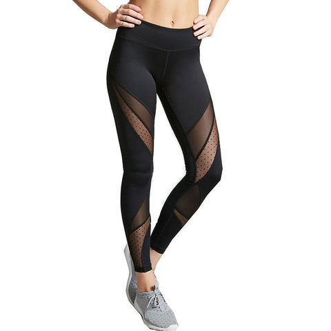 Image of Women's Daily / Going out Sexy Sporty Legging - Solid Colored, Mesh Mid Waist Black M L XL / Skinny