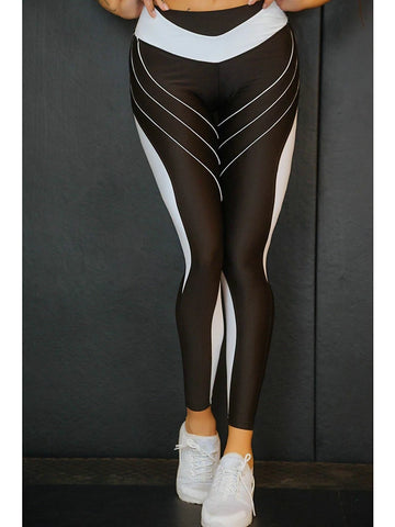 Basic Legging - Color Block, Print Mid Waist Black Blue Red