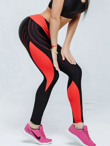 Image of Basic Legging - Color Block, Print Mid Waist Black Blue Red