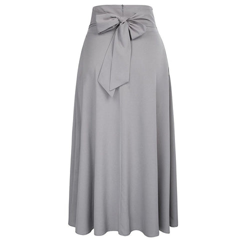 Pleated Belted Maxi Skirt