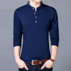 New Cotton T Shirt Men Solid Color Chinese Style Mandarin Collar