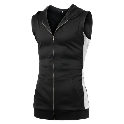 Image of Men Zipper Splicing Sports Hooded Vest
