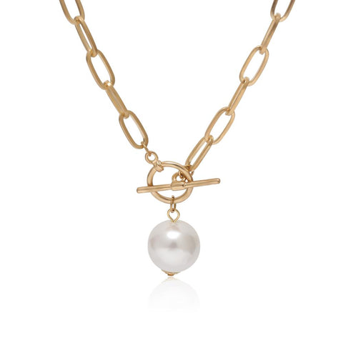 Image of IngeSight.Z Punk Imitation Baroque Pearl Pendant Necklace Curb Cuban Thick Chain Toggle Clasp Long Necklaces for Women Jewelry