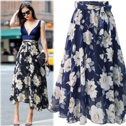 Floral black blue chiffon skirt