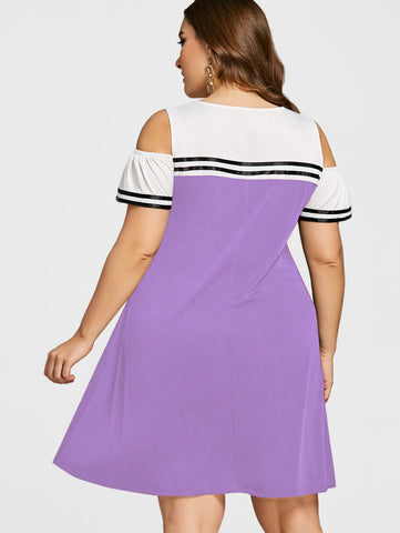 Image of Double Striped Open Shoulder Dress