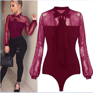 Bodysuit Women Sexy Bow Mock