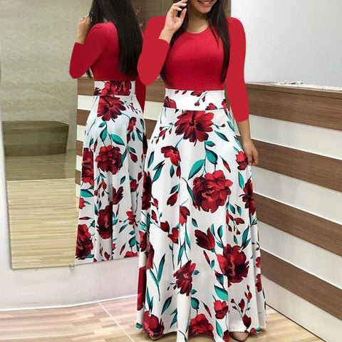 Long Dress Fashion Women Floral Print Boho
