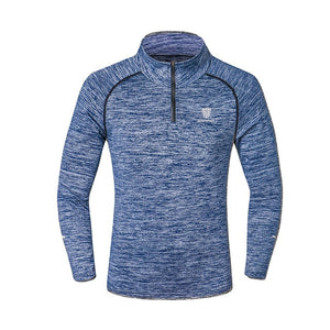 Men T-shirt with Zipper Quick Dry Long Sleeve Sportswear