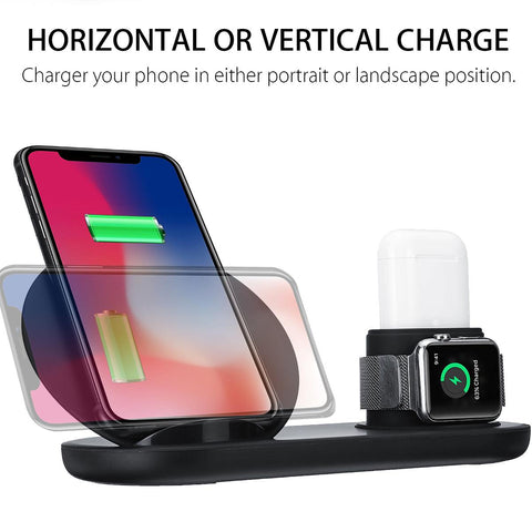 Image of 3 in1 10W Qi Wireless Charger Dock Station (Fast Charging for Apple Watch)