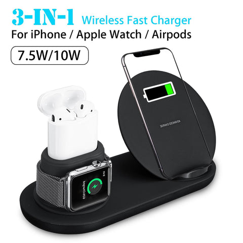 3 in1 10W Qi Wireless Charger Dock Station (Fast Charging for Apple Watch)