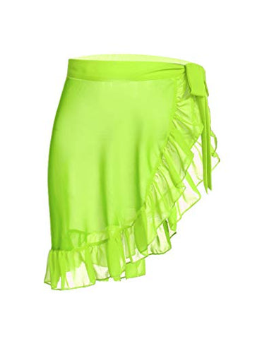 Ekouaer Women Short Sarongs Beach Wrap Sheer Chiffon Bikini Wrap Cover Ups Skirt for Swimwear Small
