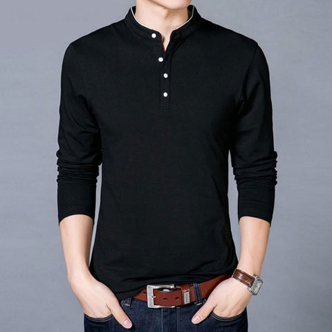 Image of New Cotton T Shirt Men Solid Color Chinese Style Mandarin Collar