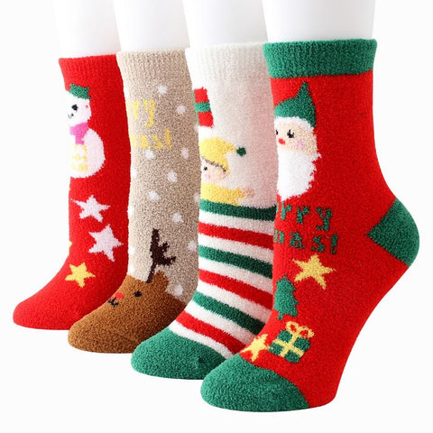 Image of Winter Warm Coral Velvet Christmas Socks