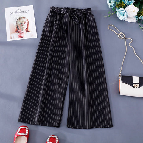 Image of Women Casual Striped Pants Wide Leg