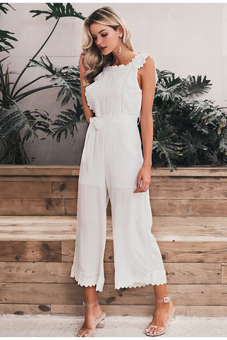 Image of Cotton linen ruffled embroidery women jumpsuit
