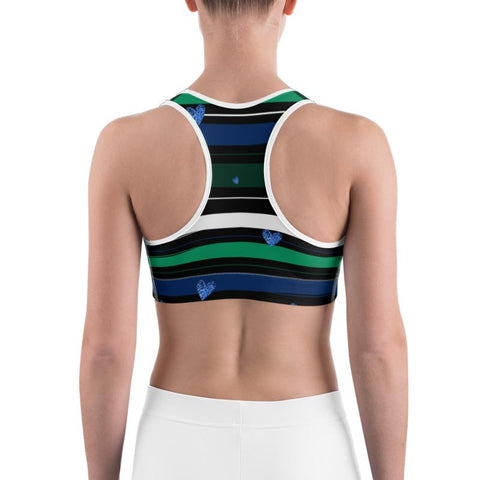 Image of Stripes and Hearts Sports Bra