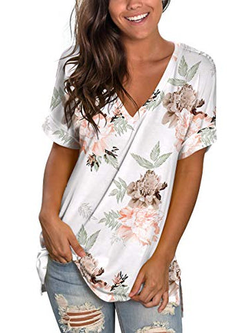 Womens Tshirts Short Sleeves Cute Juniors Tops Beach Printed Tunics Side Split S