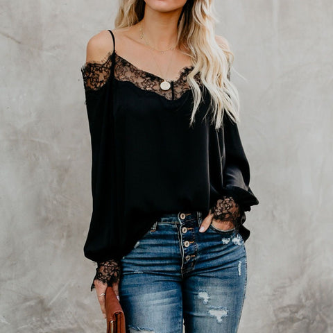 Image of Women's V-neck Strapless Straps Lace Shirt