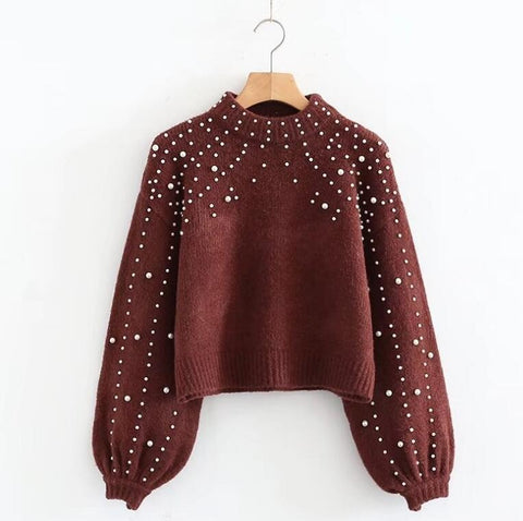 Image of Pearl Turtleneck Lantern Sleeve Pullover Sweater