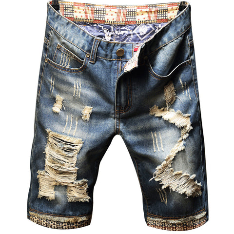 Image of Men Fit Hole Straight Denim Jeans Shorts