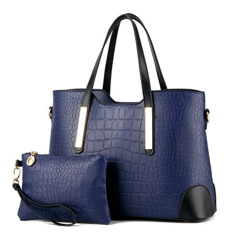 Image of Top-Handle Crocodile Pattern Composite Bag