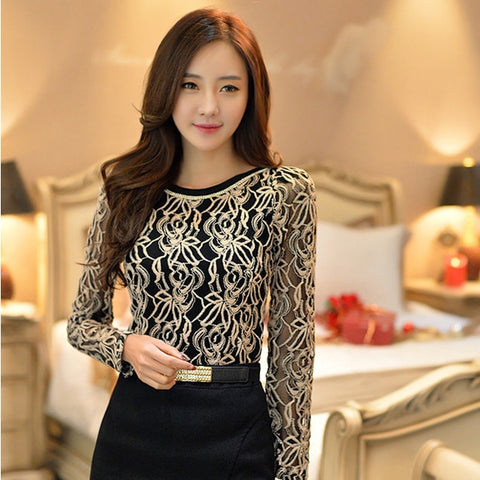 Image of Women Elegant Long Sleeve Black Lace Chiffon Blouse
