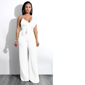 One Shoulder Ruffles Jumpsuits For Women