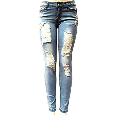 Image of Women's Skinny Hole Ripped Jeans